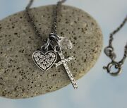 Pavandeacute Heart And Cross Necklace- Black Sterling Silver Charms + Chain Crystal Drop