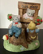Rare Vintage Schmid Kitty Cucumber Clubhouse Music Box Tested Working Cats