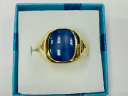 Ring10k Gold 67g With Saphirstern And Small Diamonds Ring Size 62 50969