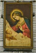 Sublime Antique French Religious Church Banner Wall Hanging Mary Jesus 19th C