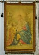 Divine Antique French Religious Banner Wall Hanging Mary Joseph Jesus 19th C