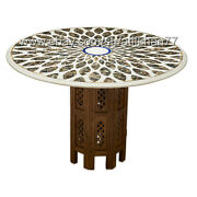 30x30 Mosaic Coffee Table Wooden Marble Inlay Marquetry Antique Style Furniture
