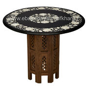 24 Inch Stone Coffee Table Top Wooden Round Marble Patio Table Home Furniture