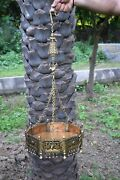 Rajasthani Puppet Doll Brass Planter With Hanging Chain Hand Carved Sigdi Ek870