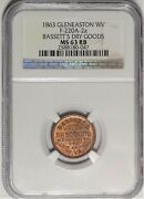 Glen Easton West Virginia Bassettand039s Civil War Store Card Wv 220a-2a Ngc Ms63rb