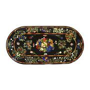 4and039x2and039 Black Marble Table Top Dining Bird Pietra Dura Inlay Lapis Room Decor L2