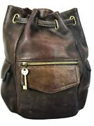 Fossil 75082 Leather Drawstring Backpack Purse/bag