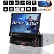 7single 1 Din Car Flip Out Cd Dvd Player Radio Android 10 Touch Screen Bt Gps
