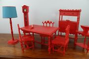 Mcm Vintage 1960's Galba Galletti Dollhouse Doll Furniture - Made In Italy Red