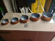 Antique French Country Farmhouse Copper And Brass Pots Sauce Pans - Set Of 5