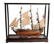 Handcrafted Hms Surprise Large Model Ship With Table Top Display Case