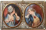 19th C. Miniature Secret Lovers - Catherine The Great - Filigree And Pearls Frame