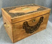 Large Antique French Art Nouveau Trunk Early 1900's Walnut Wood Brass Marquetry