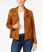 Msrp 80 Style And Co Faux Suede Moto Jacket Brown Choose Size Small Large Xl