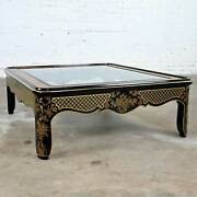 Drexel Heritage Et Cetera Collection Chinoiserie Black Gold Burl Coffee Table