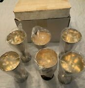 6 Water Glasses Cup Goblet Wine Chalice Silverplate Plator Made In Spain