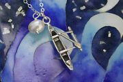Love To Paddle Necklace –sterling Silver Hawaiian Outrigger Canoe + Pearl -ocean