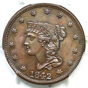1842 N-6 Pcgs Ms 64 Bn Cac Braided Hair Large Cent Coin 1c