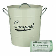 Cream Kitchen Compost Caddy And 50x 6l All-green Biobags - Composting Bin For