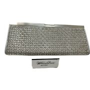 Whiting And Davis Silver Rhinestone Clutch Evening Bag Slinky Chain Pewter Purse