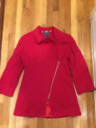 Bella Bicchi By Sal Cashmere Wool Fabric Italy / Made Turkey Red Coat 4 .