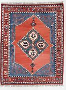 Antique Rugs Carpets Turkish Hand Knotted Wool Organic Dyes 9 X 7 Kilim