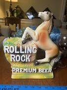 """Vintage Rolling Rock Premium Beer Sign, """"chalk Horse Statue"""" Approx 11 X 10"""