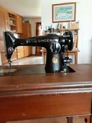 Vintage Singer Sewing Machine In Cabinet With Attachments Tested And Cleaned Works