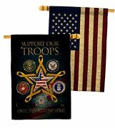 Support Our Military Troops Burlap House Flag - Pack Armed Forces Service All