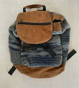 Vintage Woolrich Backpack Drawstring Flap Blue Gray Suede Wool Made In The Usa