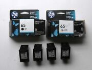 Lot Of 4 Genuine Hp65 Black Empty Ink And 2 Empty Boxes Printer Cartridges