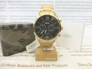 Fossil Wrist Watch Mens Flynn Chunky Chronograph Gold Bracelet Watches New R£169