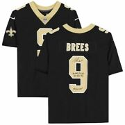Drew Brees New Orleans Saints Signed Black Nike Limited Jersey With Career Stat