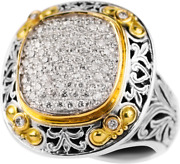 Konstantino Sterling Silver And 18k Gold Paveand039 Diamond Ring Retail 3790 New