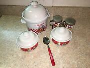 Campbell Soup Collectibles Lot Sugar Soup Bowl Salt And Pepper Shakers Vintage