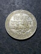 India 1928 1985 Silver Princely State Of Mewar 1 Rupee Coin