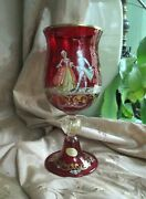 Murano Venetian Art Venezia Italy Red Gold 8 Crystal Glass Cup Goblet
