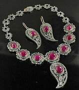 Wedding Victorian Style 16.56ctw Rose Cut Diamond Silver Ruby Necklace Set H326