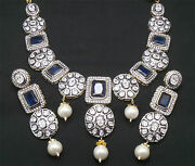 5.90ct Rose Cut Diamond Polki Silver Awesome 14k Gold Plated Necklace Set F218