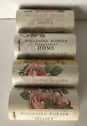 Lot Of 4 Laura Ashley Home Wallpaper Border Rosy Swag Pink Rose Rare