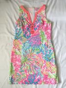 Lilly Pulitzer Ryder Shift Dress Lovers Coral Neon Print Embroidered Size 8