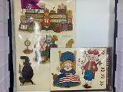 Lot 2 Retro Vintage Meyercord Decals Betsy Ross Grandma And Grandpa 1535-a And 1540d