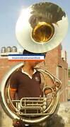 Sousaphone Jumbo Bell Size 25 Pure Brass Metal In Gold Polish +case +free Ship