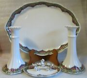 Antique Coiffe Mark Porcelain Vanity Dressing Table Tray Ring Dish Candlesticks