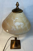 """Fenton Art Glass Cameo Carved """" In The Glen """" Student Lamp Limited To 250"""