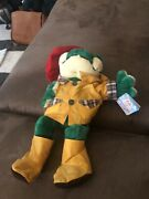 Rare Vintage Kuddle Me Toys Frog With Raincoat And Red Hat