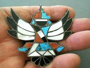 Old Native American Multi-stone Inlay Sterling Silver Knifewing Pin / Pendant R
