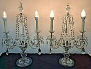 Pair Of Vintage French Table Candelabras Table Lamps Candles Crystals Prisms