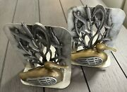 Vintage Set Metzke Duck And Cattail Metal Bookends Brass Pewter 1980s Book Ends