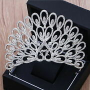 925 Sterling Silver Cz White Round Pave Wedding Tiara Hair Jewelry Gift O898